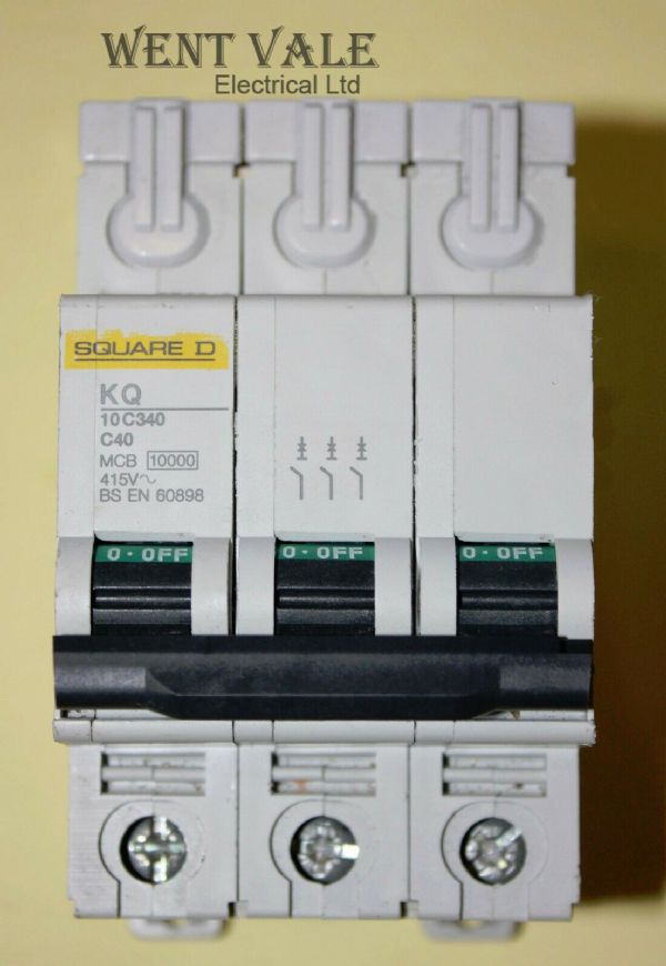 Square D Loadcentre - KQ10C340 - 40a Type C Triple Pole MCB Used